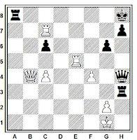 Posición ejemplo de sacrificio de desbloqueo con mate en 6, juegan blancas