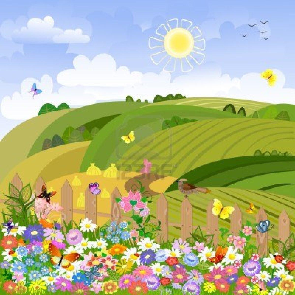 Cartoon Meadow Landscape
