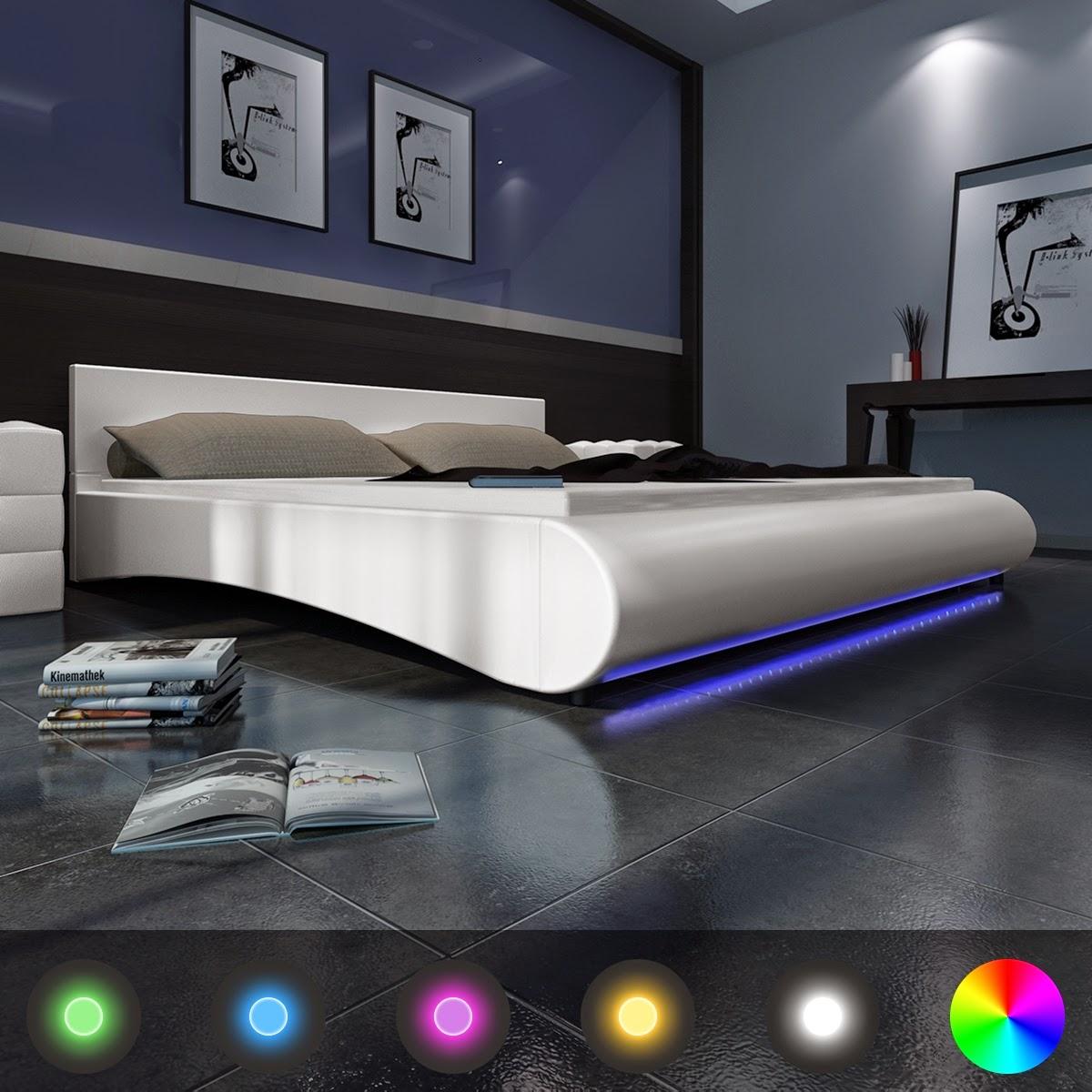 Decco interieur lit en cuir 180 200 cm blanc ou noir for Eclairage telecommande interieur