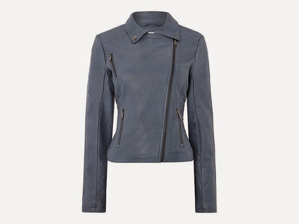 blue faux suede motorcycle jacket from Linea Weekend House of Fraser
