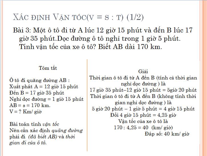 các bài toán về chuyển động đều : tính vận tốc, thời gian, quãng đường . ôn thi toán vào lớp 6 các trường.