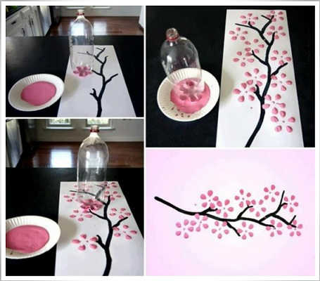 How to draw a painting, Interesting method to create art work, True art work, Ideas to make easy painting arts, innovation art work, creative idea for painting tree art, Tree and flower art work easily made from bottle, realistic art work draw easy method