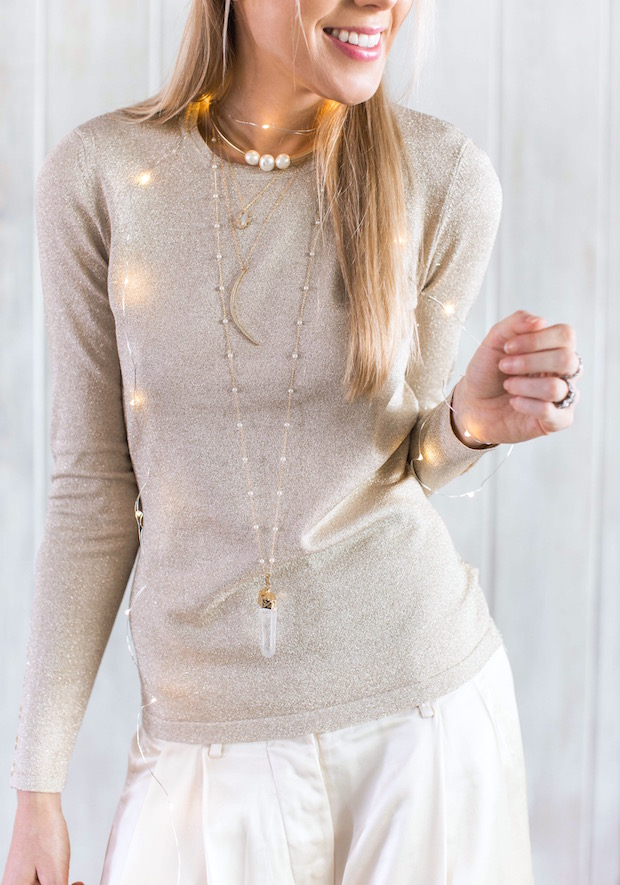 winter white wide leg trousers glitter gold sweater gold necklace layer holiday style holiday party outfit The Supper Model