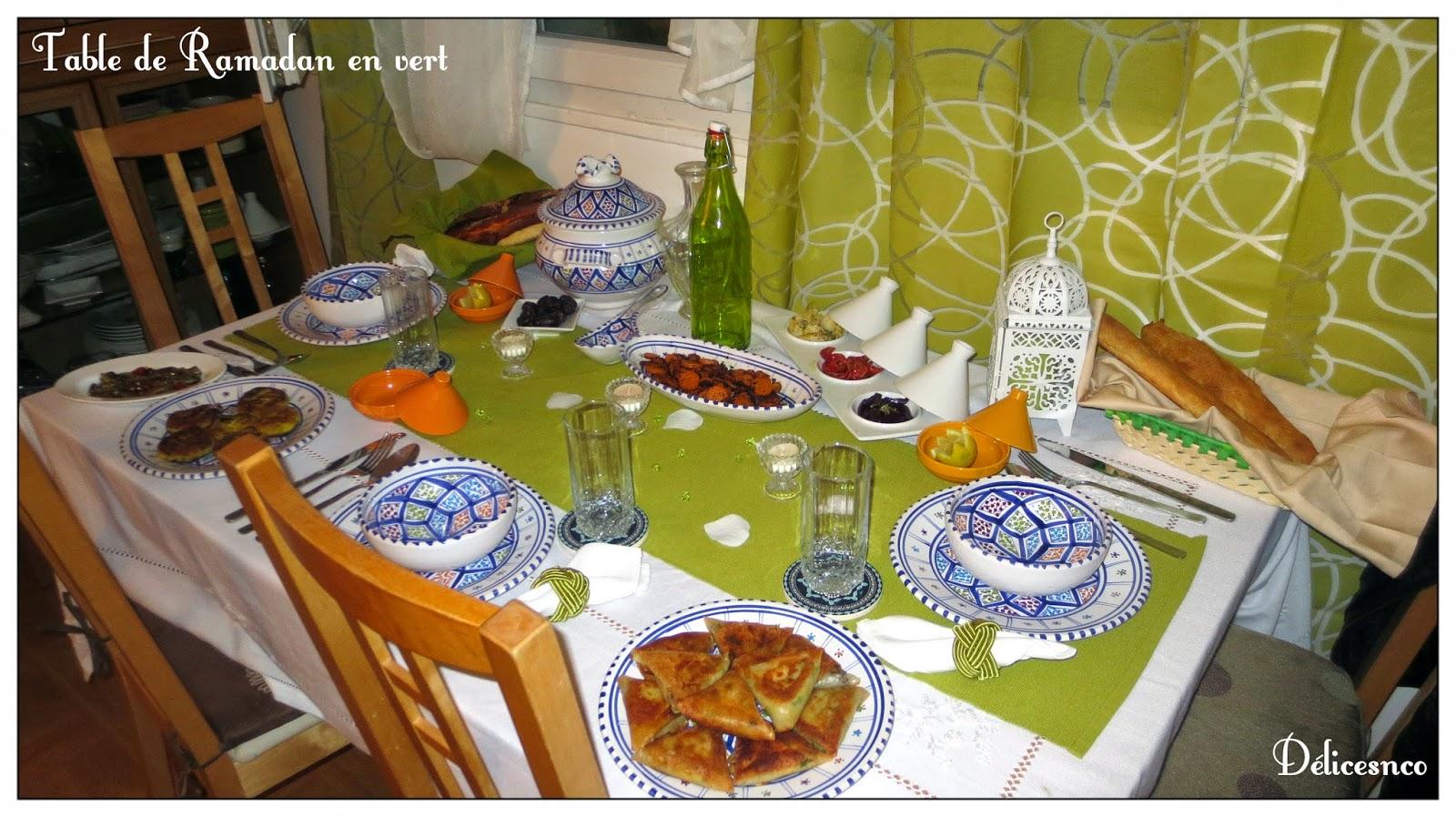 TABLE DE RAMADAN DECORATION EN VERT