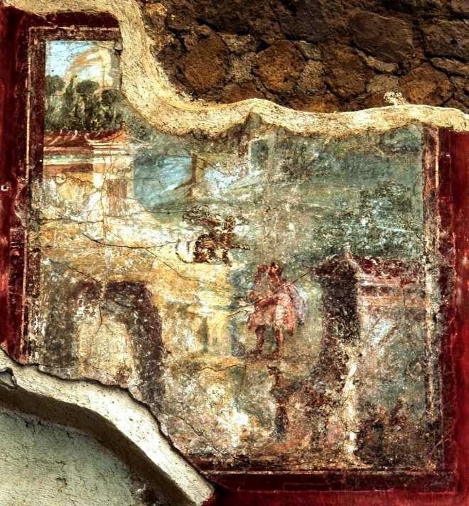 Οιδίποδας και Σφίγγα. Τοιχογραφία του 1ου αι. μ.Χ., από την Οικία του Αγίου Μάρκου, Σταβίες. Σε βράχο πάνω από μια σπηλιά βρίσκεται η Σφίγγα. Μπροστά της στέκεται ο Οιδίποδας απαντώντας στο περίφημο αίνιγμά της. Στο βάθος διακρίνονται διάφορα οικοδομήματα της Θήβας. Νάπολη, Εθνικό Αρχαιολογικό Μουσείο, 62450