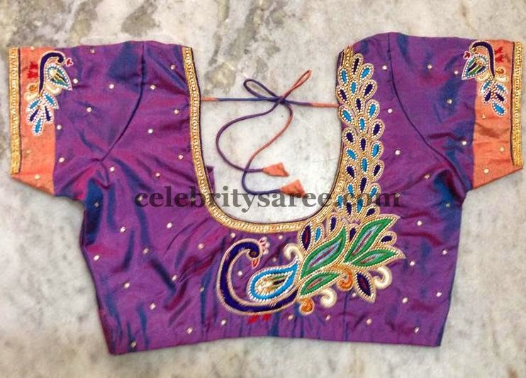 Blouses With Peacock Work - Saree Blouse Patterns