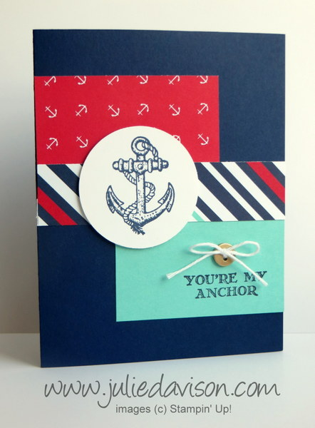 Stampin' Up! Guy Greetings Nautical Card #masculine #stampinup www.juliedavison.com