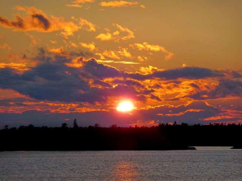 spectacular sunset over Saganaga Lake, BWCAW