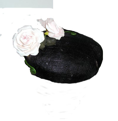 black sinamay creased beret