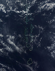 atolls of the Maldives, which consists of 1,322 islands arranged into 26 atolls.