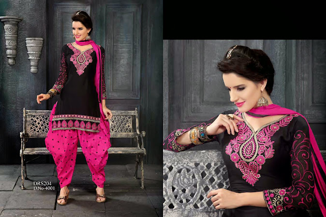 Buy Online Embroidery Patiyala Style Cotton Dress Material