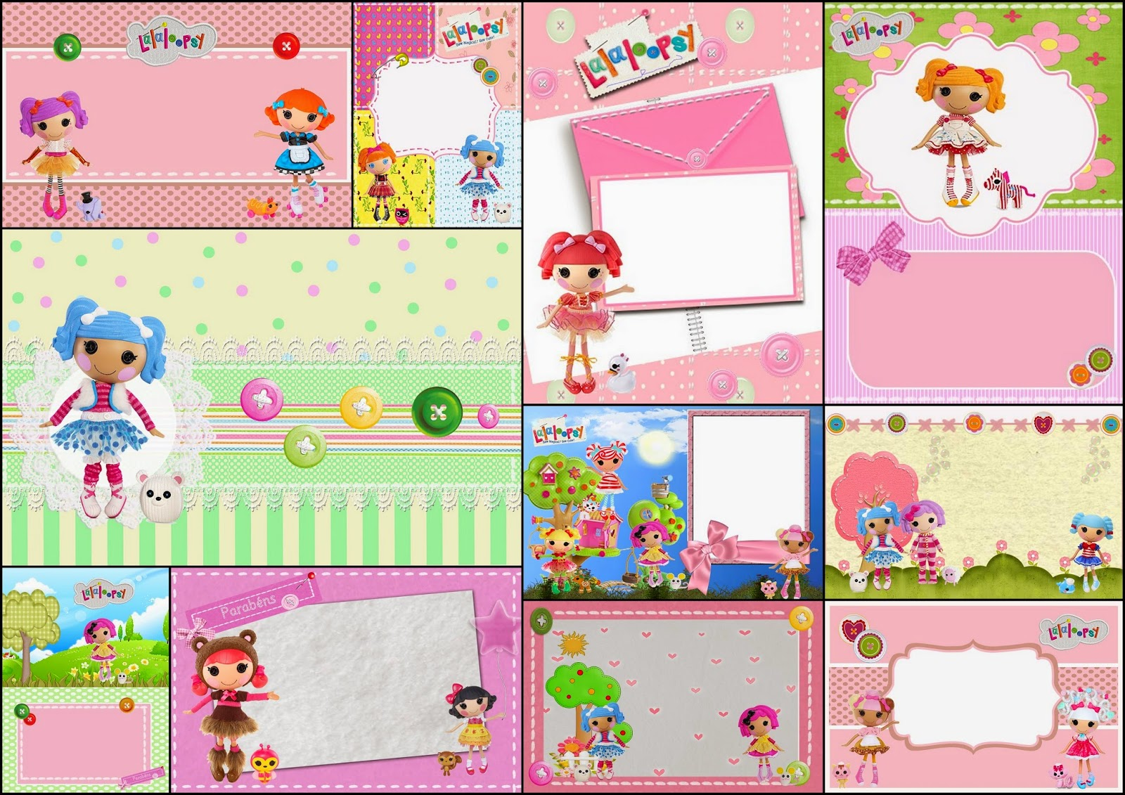 Lalaloopsy: Free Printable Invitations, Labels or Cards.