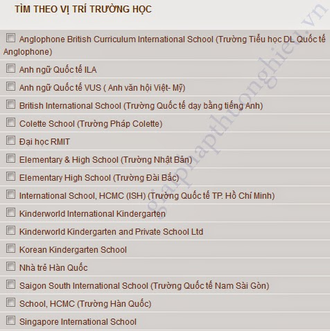 Thiết kế website BDS | Tìm kiếm theo trường học