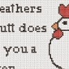 country chicken cross stitch sampler with fight club quote