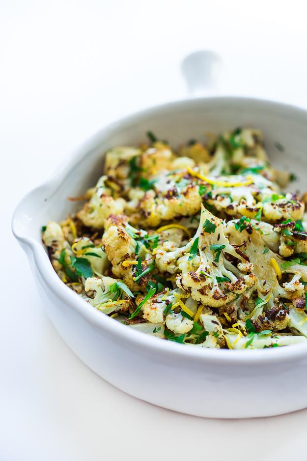 Coriander Roasted Cauliflower with garlic, lemon and caraway. Vegan and gluten free! |www.feastingathome.com