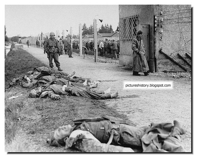 SS guards dead bodies Dachau