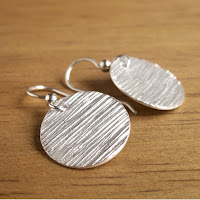 simple minimalist woodgrain texture silver disc earrings by Jennifer Kistler