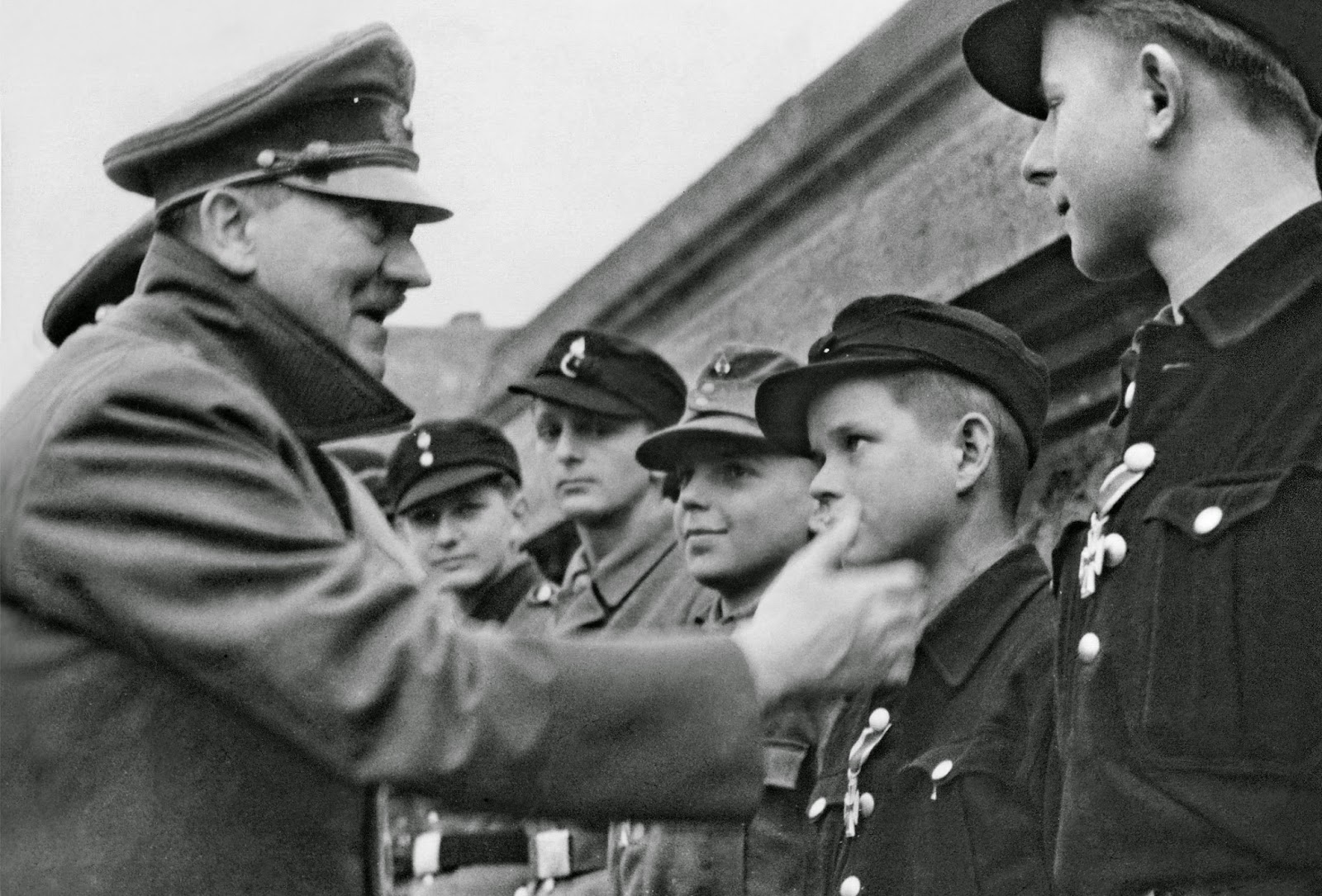 Hitler with Hitler youth boys