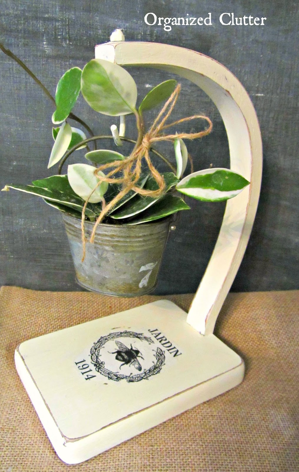 Repurposed Banana Stand Plant Holder www.organizedclutter.net