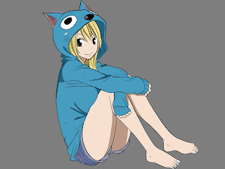 Lucy Heartfilia Cute Happy Hood Dress Fairy Tail Girl Anime HD Wallpaper Desktop PC Background 1926