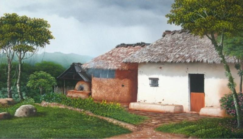 Cuadros modernos pinturas y dibujos cuadros paisaje - Cuadros de casas de campo ...
