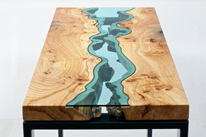 Meja Unik kayu dari potongan pohon