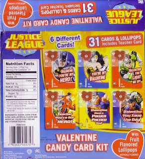 Back of the Justice League Valentine Candy Card Kit box