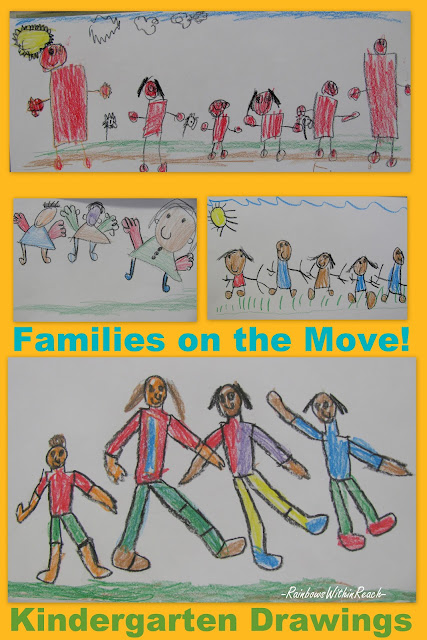 Kindergarten family drawings, shape people, crayons, early fine motor