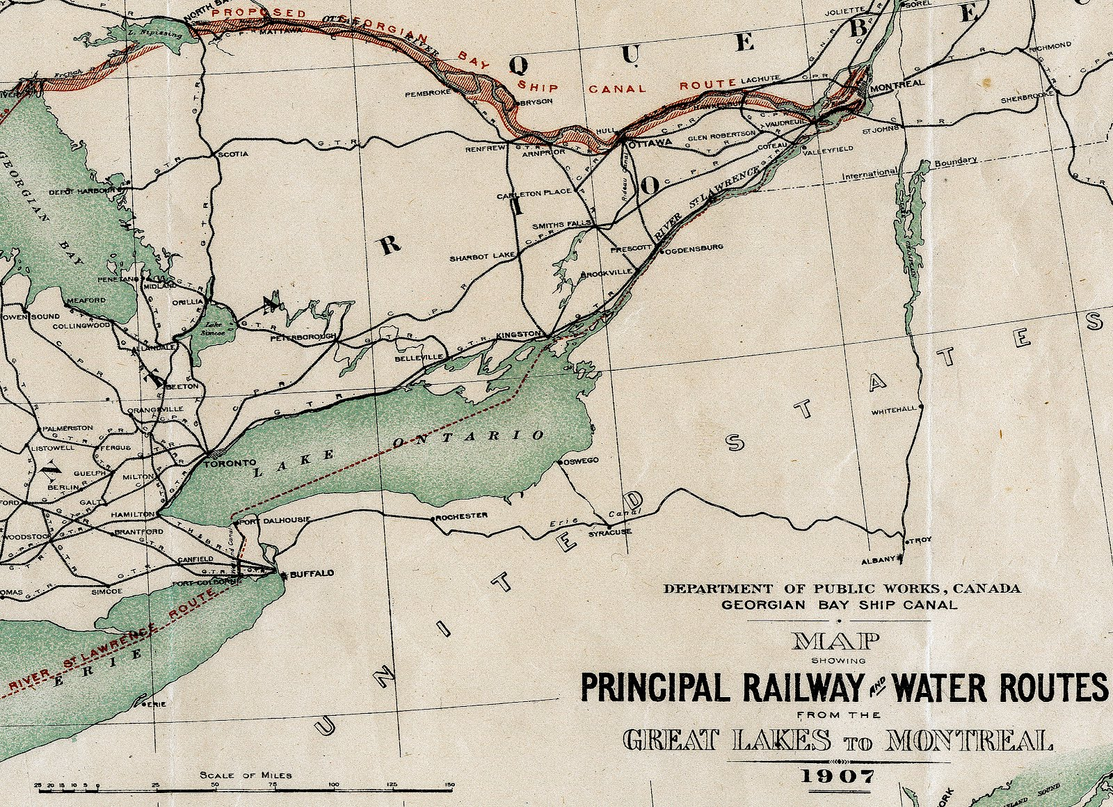 the georgian bay ship canal was intended to create a direct route for ocean going vessels between the port of montreal and the upper great lakes
