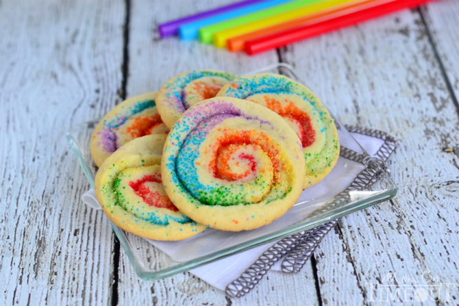 Rainbow Pinwheel Cookies from Mom on Time Out