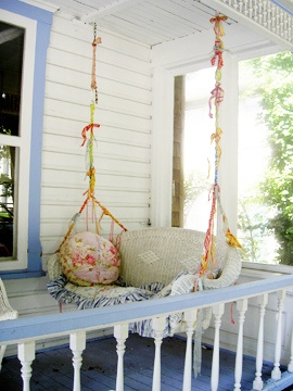 Upcycled Wicker Sofa Is Now A Pretty Porch Swing