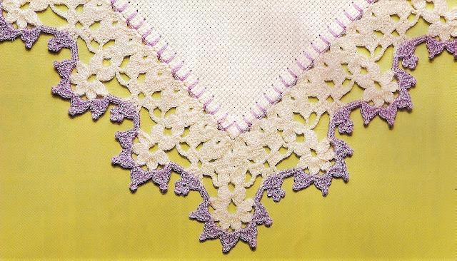 barrados lilás moldura em croche com receita