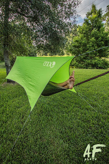 lime green ENO ProFly Tarp with me in my hammock