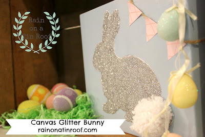 Canvas Glitter Bunny {rainonatinroof.com} #bunny #rabbit #glitter #Easter #craft