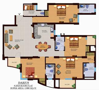 Czar Suites :: Floor Plans:-G+13 4 Bedroom Flat Area - 2490 sq. ft.