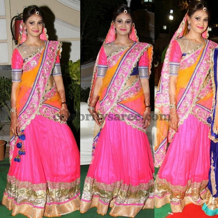 Baby Pink Orange Net Half Sari