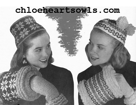 The Vintage Pattern Files 1940s Crochet Hat Muff Sets