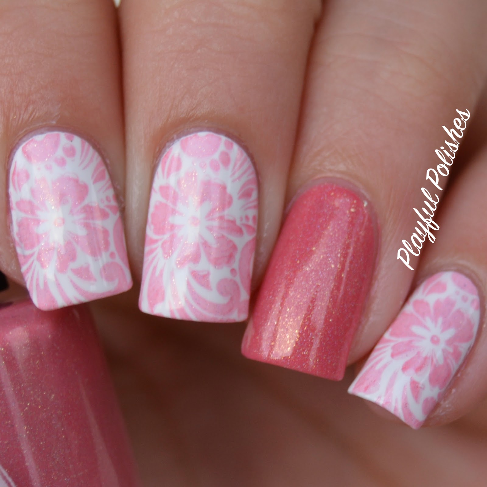 Playful Polishes Pink Holo Flower Nail Art