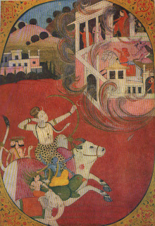 Tripurantaka-Shiva shooting the single arrow which destroyed the three flying cities of the demons; Pahari Miniature.