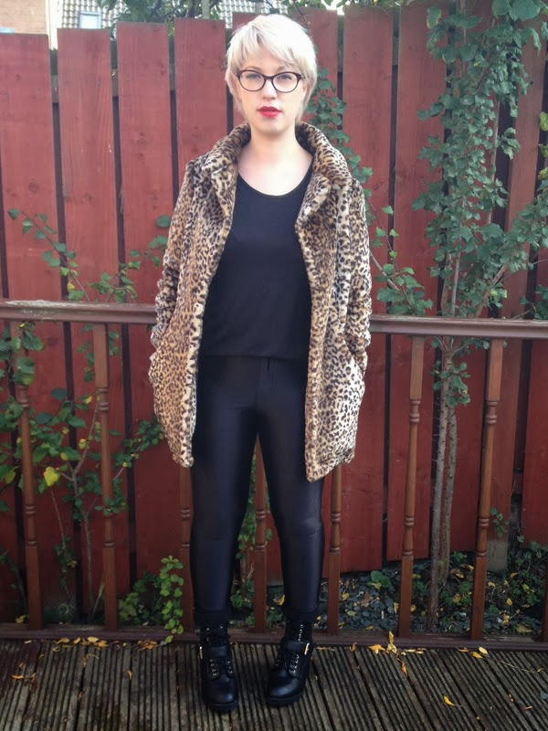 New Look Leopard Faux Fur Coat, American Apparel Disco Pants, Primark Ankle Boots