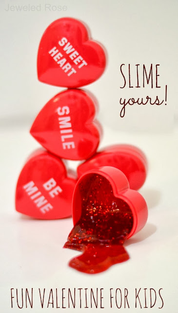 SLIME yours- what a fun no candy valentine idea!  What kid doesn't  love slime?
