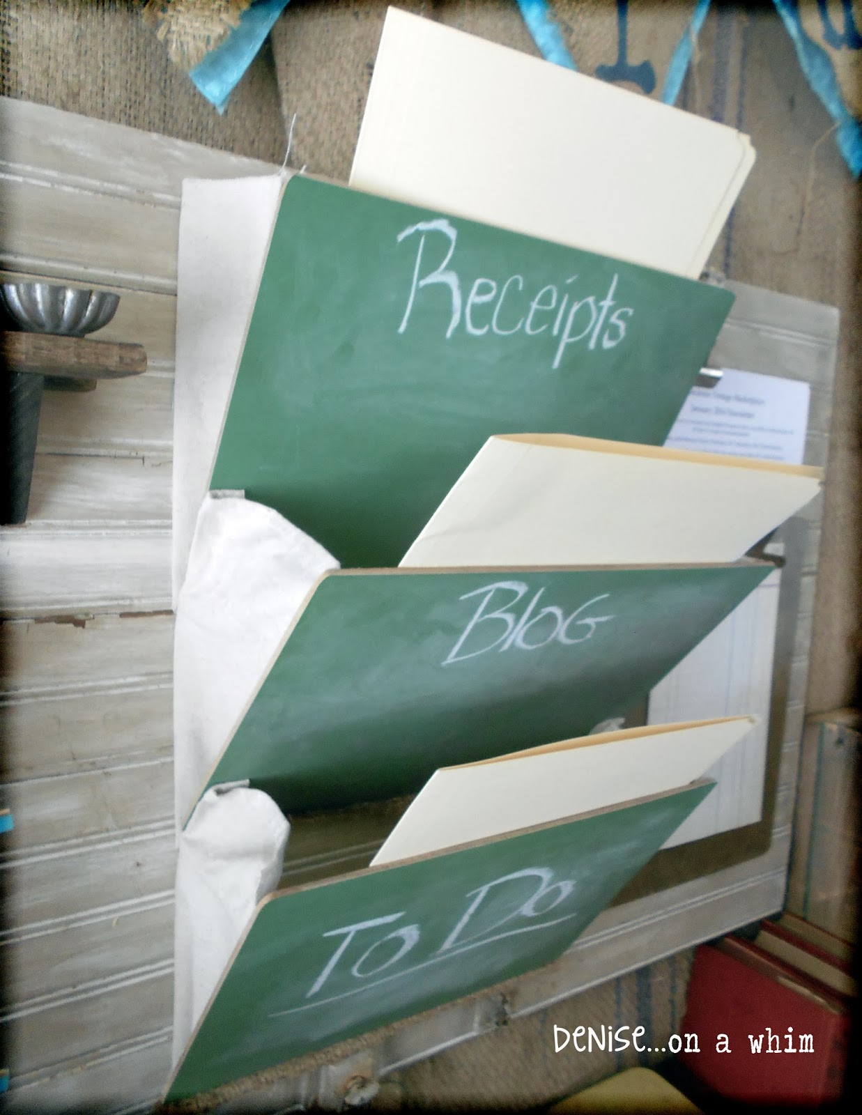 School Chalkboard Slates and Drop Cloth as File Pockets via http://deniseonawhim.blogspot.com