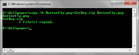 Make it hidden in the image by command prompt