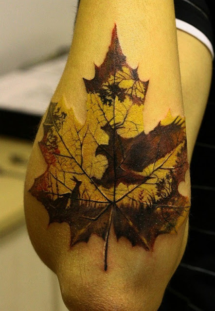 With a flower tattoo tuesdays be ye not afraid to fall for Fall tree tattoo