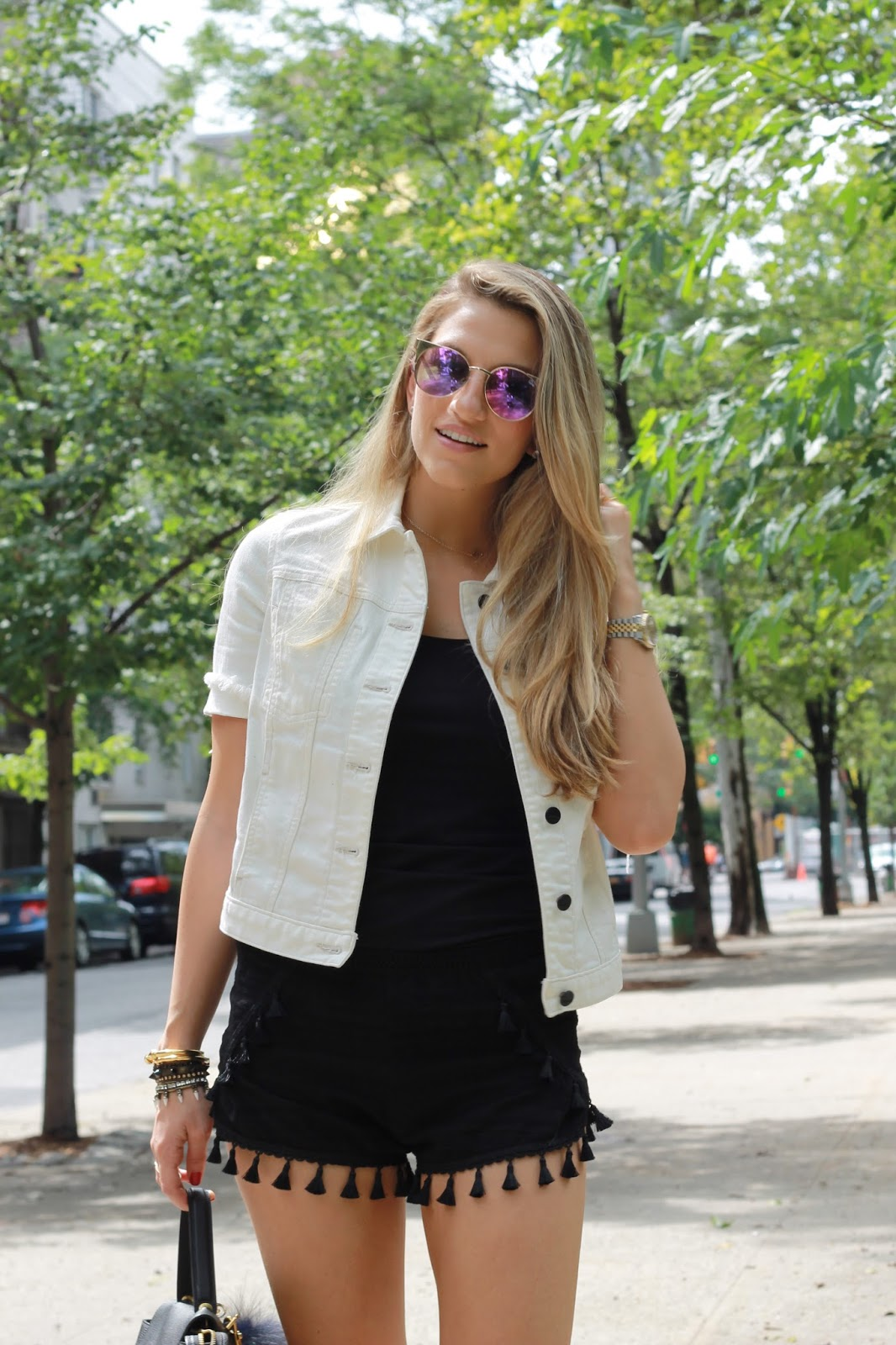 quay asha sunglasses, genetic short sleeve denim jacket