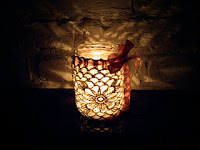 Романтичен свещник на една кука  Lumino romantico all'uncinetto