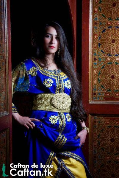 Caftan 2014 | Robe marocaine bleu de luxe