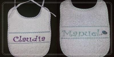 Baberos personalizados: nombres con punto de cruz