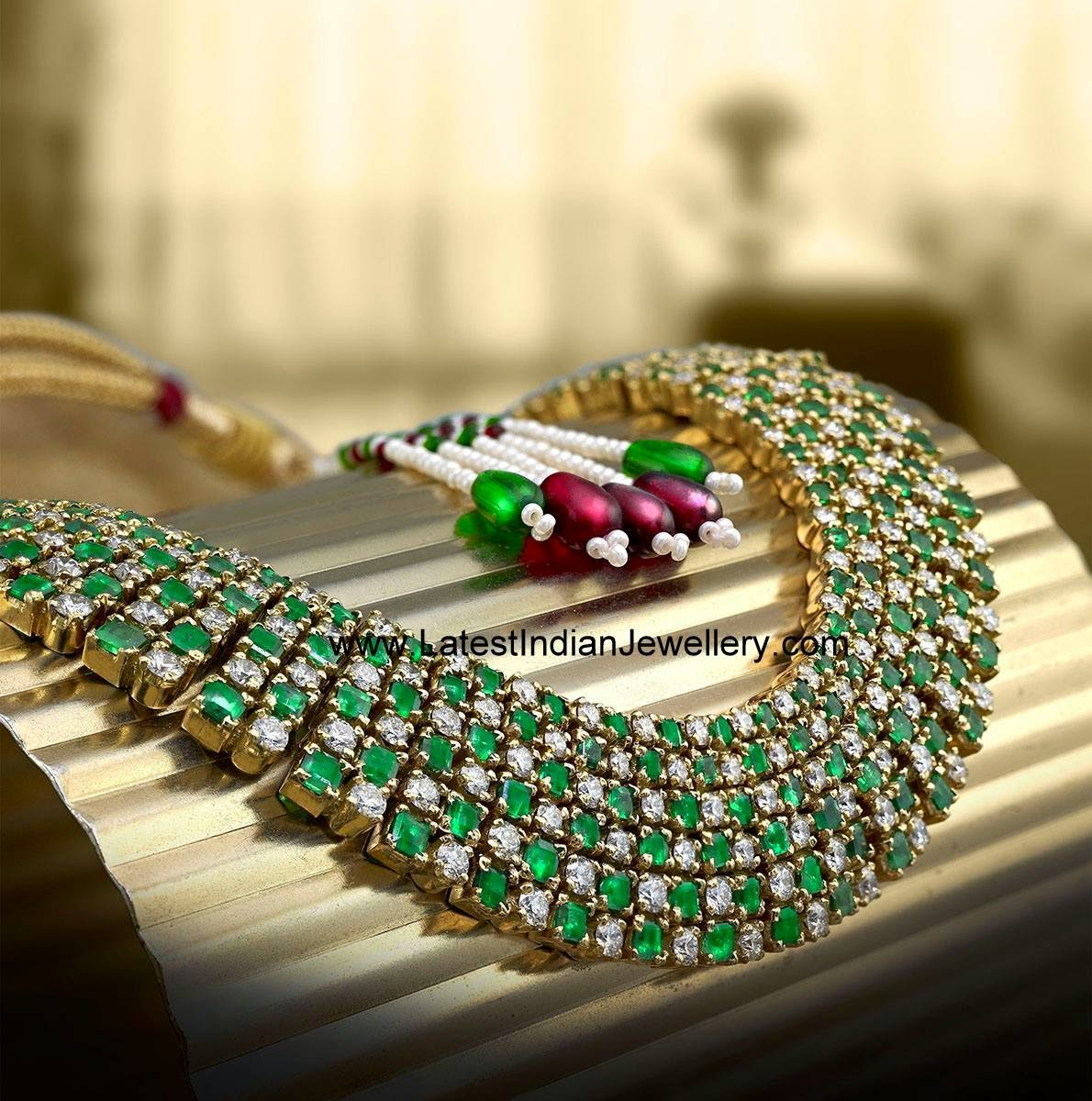Solitare Diamond Emerald Necklace