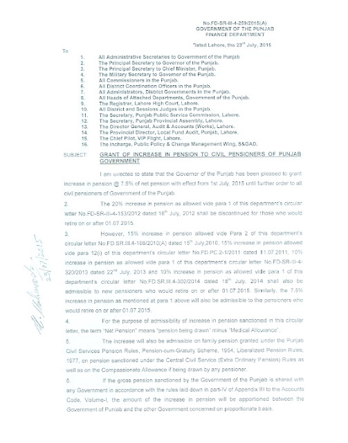 Notification of Increase in Pension Punjab